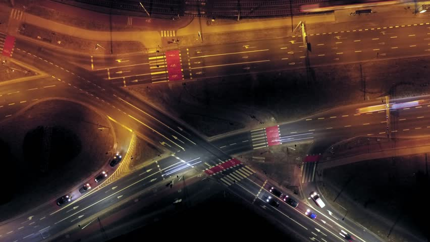 Aerial City Junction Traffic Time Lapse at Night #1008856169