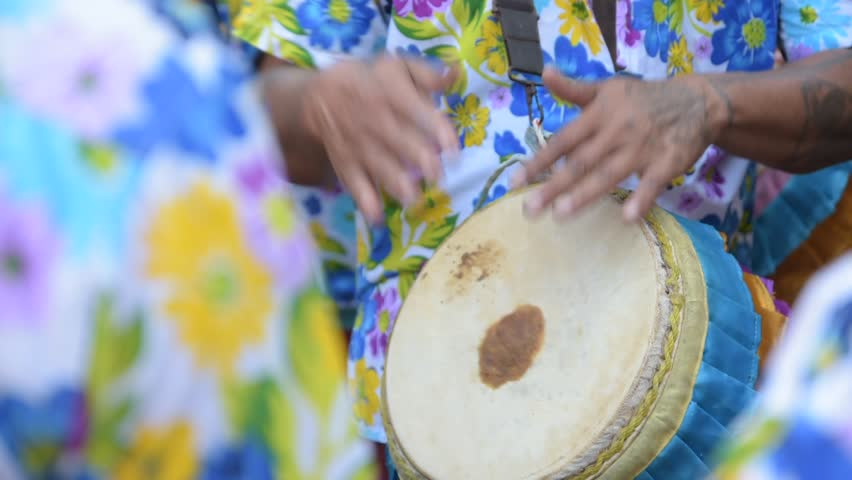 People are playing long drums at a music festival. Royalty-Free Stock Footage #1008863117