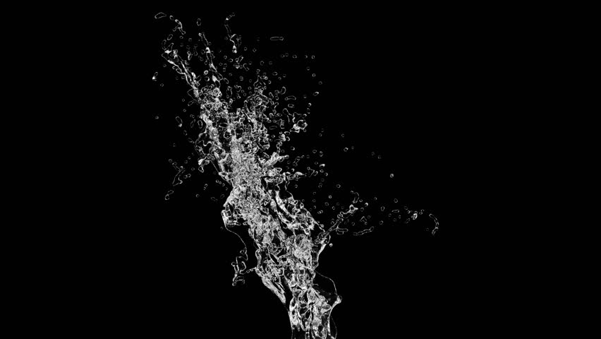 Splash of transparent water on a black background