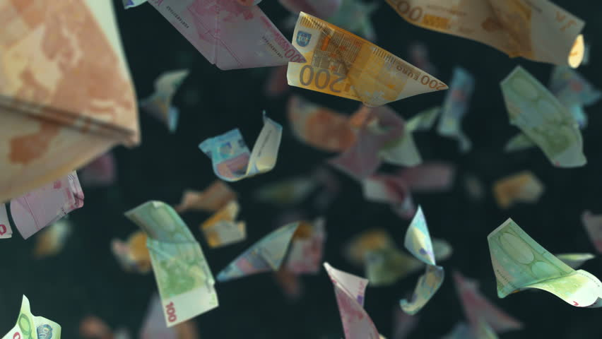 Falling Euro banknotes in 4K | Shutterstock HD Video #1008870413