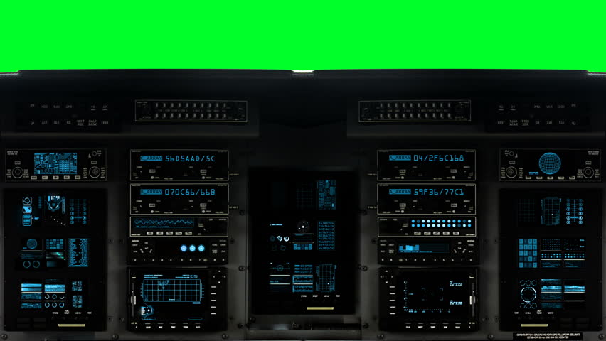 Futuristic Control Bridge on a Spaceship on a Green Screen Background  #1008890765