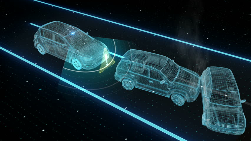 Autonomous vehicle, Collision Avoid car, Keep the car distance, Automatic driving technology. IOT connect car. X-ray image. 4k size movie