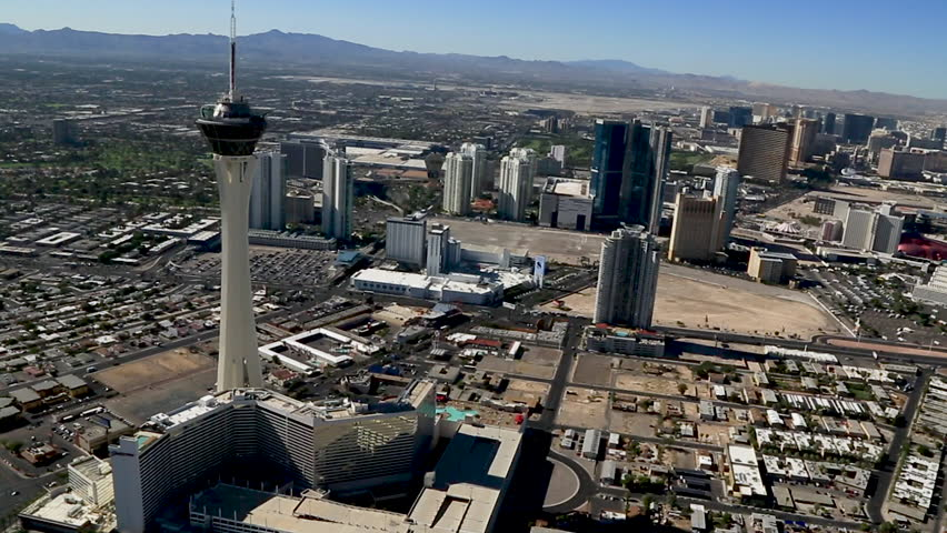 Las Vegas, USA July 2016. Aerial of the Las Vegas Strip, The Stratosphere Las Vegas is a hotel, casino, and tower located on Las Vegas Boulevard.
