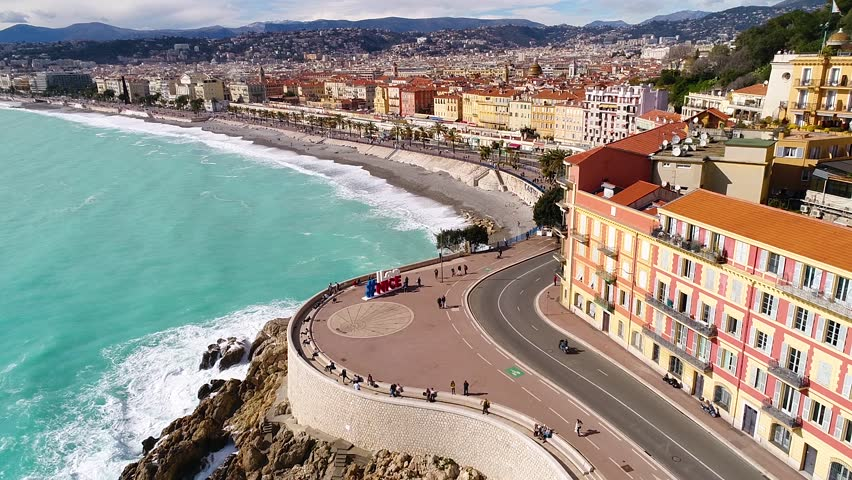 Nice, France, Aerial view of nice and the promenade des Anglais, Cote d'Azur, HD (1920X1080) | Shutterstock HD Video #1008903803