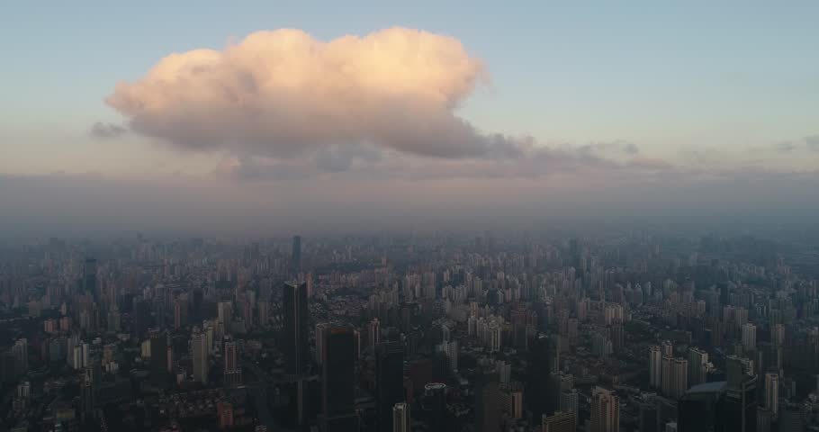 Aerial View of Shanghai city in the morning   Shutterstock HD Video #1008910763
