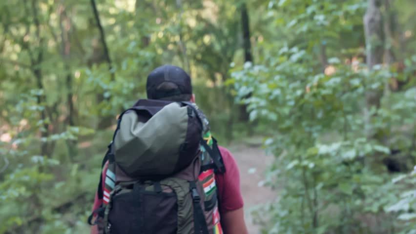 Man hiking through the woods