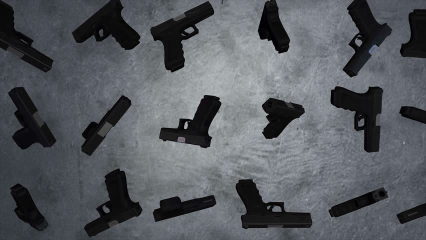 Animation of rotation guns on grey background. Revolver firearm gun chrome, alpha channel. 3D animation loop