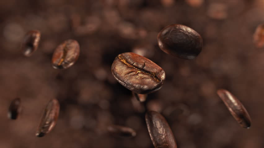 Coffee beans explosion in super slow motion 4K #1008928676
