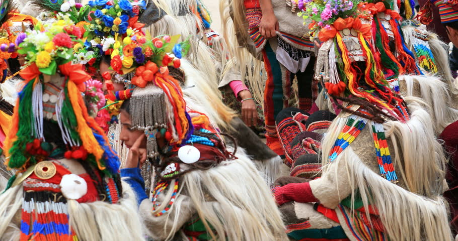 LADAKH, INDIA - 16 SEP 2017: Colorful traditional costumes and ethnic tribal clothes of people in Ladakh festival celebration, northern India | Shutterstock HD Video #1008971978