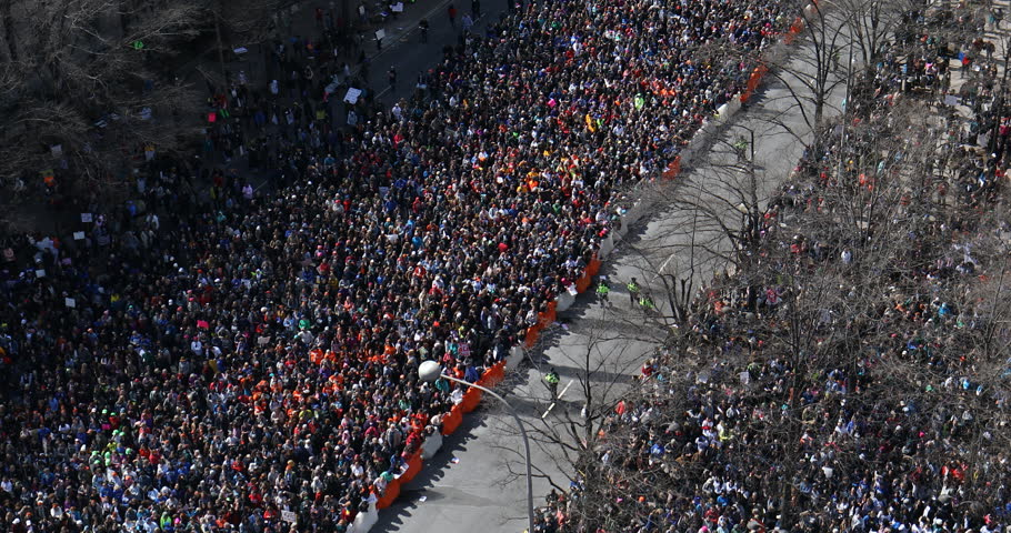 WASHINGTON, DC - March 24, 2018: Hundreds of thousands of people take to the streets in the March for Our Lives, a nationwide protest against gun violence in wake of the Parkland school shooting.