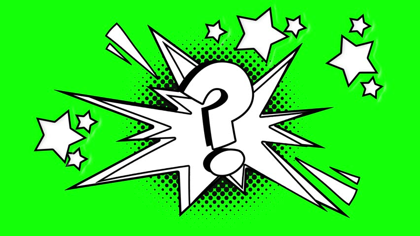 Comic animated question mar . Green screen