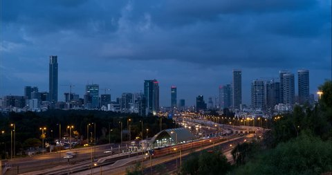 Tel Aviv and Ramat Gan Skyline with Ayalon Highway as seen from