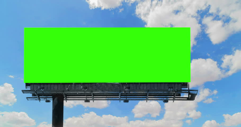 Empty billboard with chroma key green screen, on blue sky with clouds time-lapse, advertisement concept  | Shutterstock HD Video #1009025276