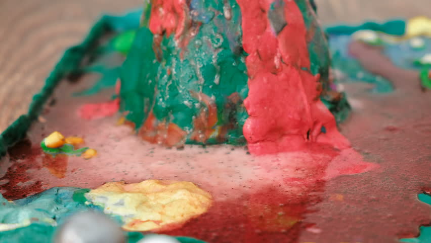 Closeup view of chemical reaction with gas emission. Experience with plasticine volcano at home. | Shutterstock HD Video #1009028816