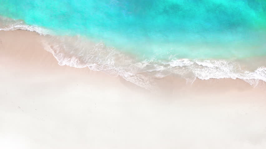 Aerial view of crystal clear sea and white sand beach. Looping Water surface texture, Top view ocean waves slow motion, Sea side white sand, Sun shine  water seamles loop background. | Shutterstock HD Video #1009030148