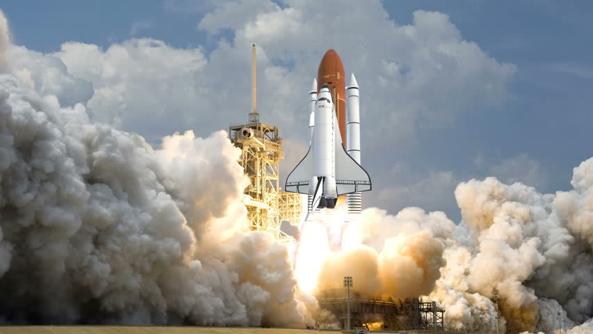 Space Shuttle launching in slow motion. Elements of this video furnished by NASA. #1009032593