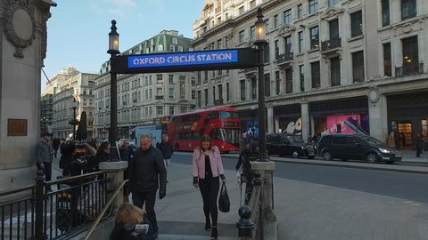 Oxford Circus station of London Underground - LONDON / ENGLAND - MARCH 18, 2018