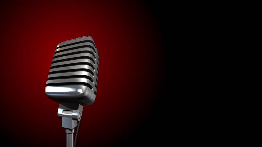 Retro microphone spining on dark background Royalty-Free Stock Footage #1009068236