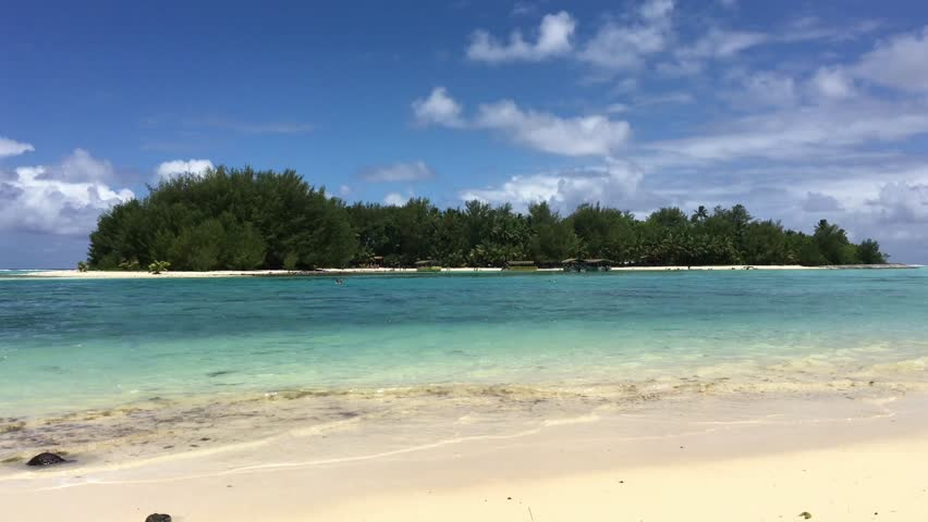 Landscape view of Koromiri islet in Muri Lagoon in Rarotonga, Cook Islands.   Shutterstock HD Video #1009073372
