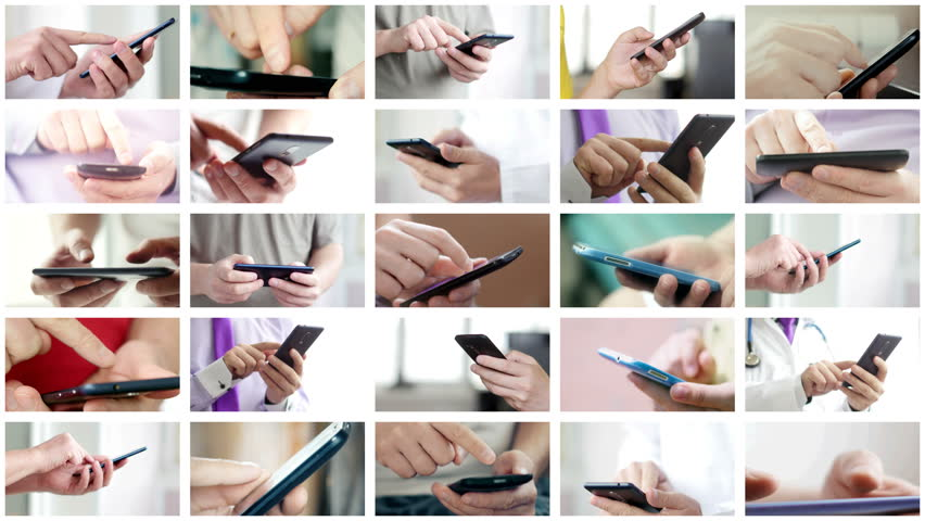 Collage of different people hands texting or typing SMS on smartphones. They using cell phones and smart phones. Technology and communication concept. 8K UltraHD (UHD) video | Shutterstock HD Video #1009084811