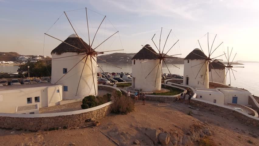 Aerial footage Windmills in Mykonos Greek Island   Shutterstock HD Video #1009091303