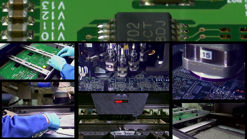 use either as a standalone or seamless loop black to black to illustrate high technology production. In this case several PCB and computer production images montaged into one sequence.