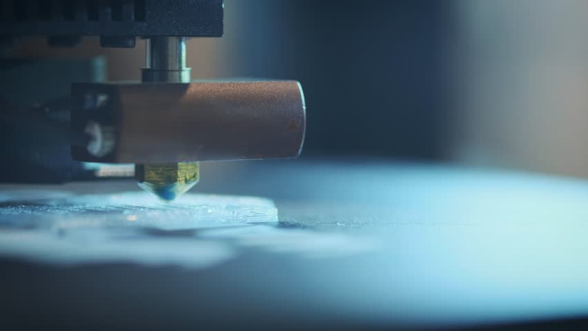 Close-up: Printing with Plastic Wire Filament on 3D Printer.