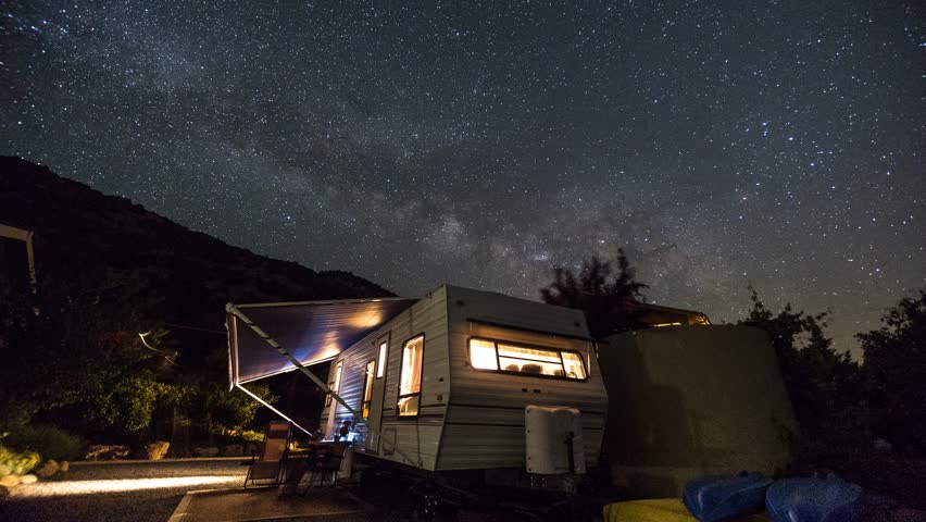 Three Rivers - Starry Night Sky, Stars, Milky Way over an RV / Camper / Trailer Astro Time Lapse Royalty-Free Stock Footage #1009117319