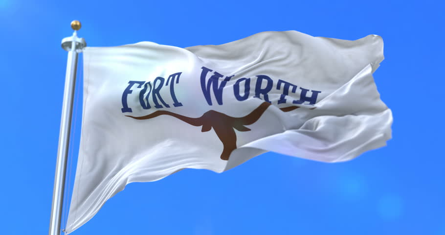Fort Worth flag, city of Texas state in USA or United States of America, waving at wind in blue sky, slow - loop