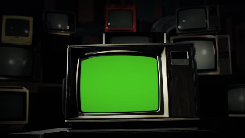 "80s TV with Green Screen in the Middle of Many Old TVs. Steel Tone. Dolly. You can Replace Green Screen with the Footage or Picture you Want with ""Keying"" effect in AE (check out tutorials on YT). 