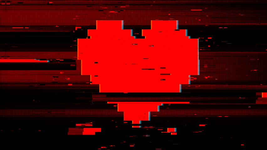 Pixel heart on digital old tv screen, glitch interference