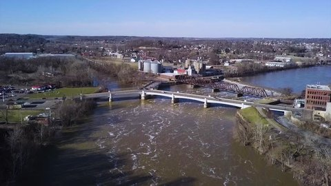 Watch the aerial shot of the famous Y bridge in Zanesville Ohio. Cars driving along and moving water in the muskimum river are certain features of this video.
