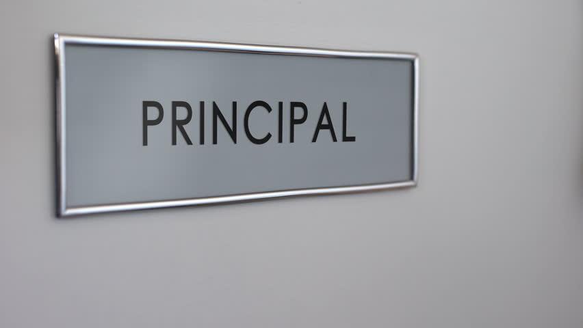Principal office door, hand knocking, chief executive officer, school director