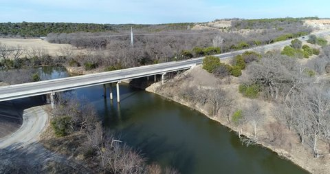 Bridges crossing Sparrow Creek in Graham,m TX. Sparrow Creek is a feeder off the Brazos River.