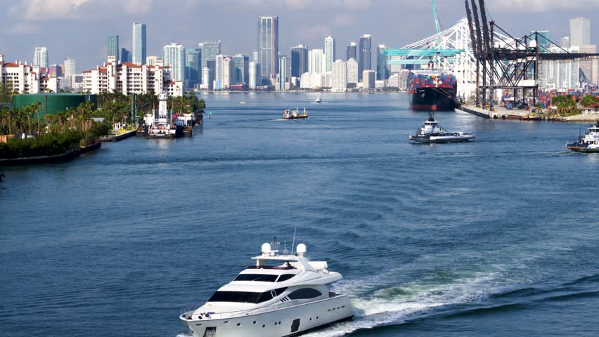 Yacht Leaving Miami Harbor by Aerial Drone   Shutterstock HD Video #1009198574