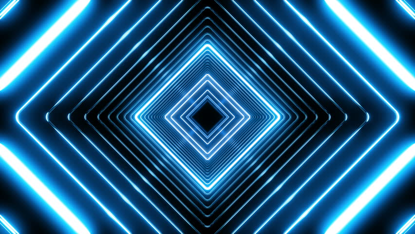 Beautiful Abstract Square Tunnel with Blue Light Lines Moving Fast. Set of Several Video Elements. Background Futuristic Tunnel with Neon Lights. Looped 3d Animation Art Concept. 4K Ultra HD 3840x2160