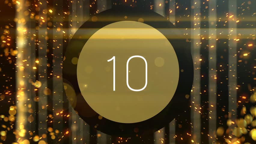 Golden particles countdown from 10 to 1. Useful for top ten list review videos. Not realtime. Each number fades to black so can be edited easily. Perfect for movie awards or celebrity star lists.  Royalty-Free Stock Footage #1009214672