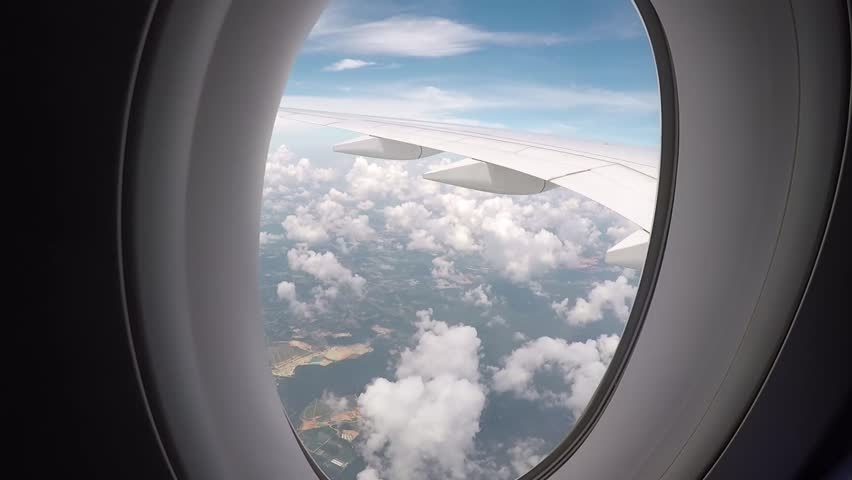 Aerial view from inside a plane #1009220951