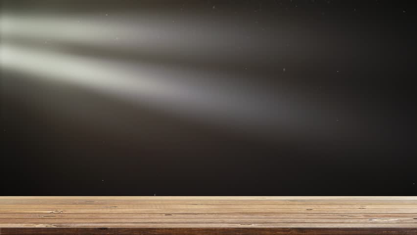 Wood shelf table with bright stage lights flashing | Shutterstock HD Video #1009228805