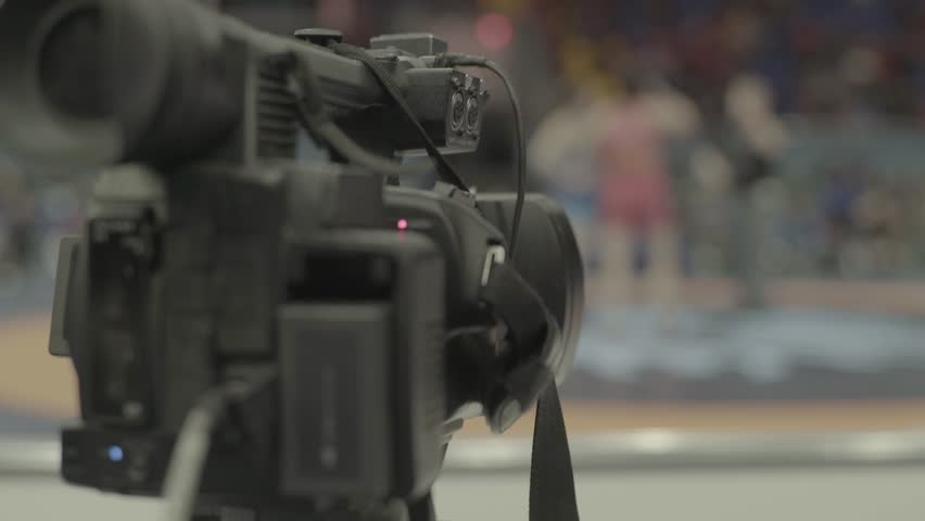 Camera during shooting sports. Media, news, press, journalist, blogger, TV | Shutterstock HD Video #1009233254