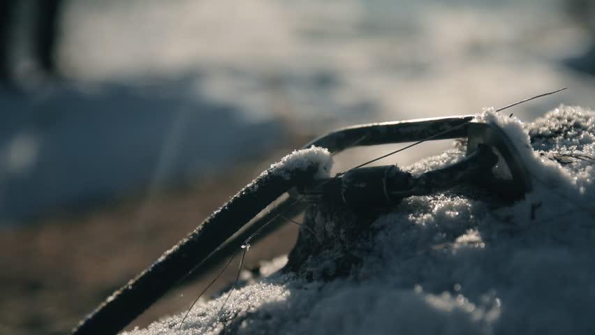 Climbing rope slides in a carabiner. Insurance climbers closeup. | Shutterstock HD Video #1009252409