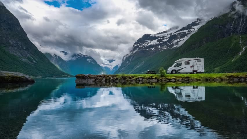 Family vacation travel RV, holiday trip in motorhome, Caravan car Vacation. Beautiful Nature Norway natural landscape. Royalty-Free Stock Footage #1009258694