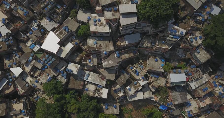 Aerial drone of the Favela, Brazilian Rio de Janeiro a low-income urban area in Brazil.