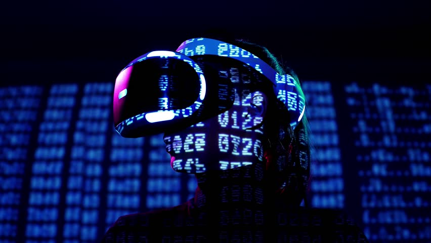 Profile portrait of young woman in VR headset with symbols and numbers projection. Virtual reality interactive helmet on brarcode matrix background Royalty-Free Stock Footage #1009273673