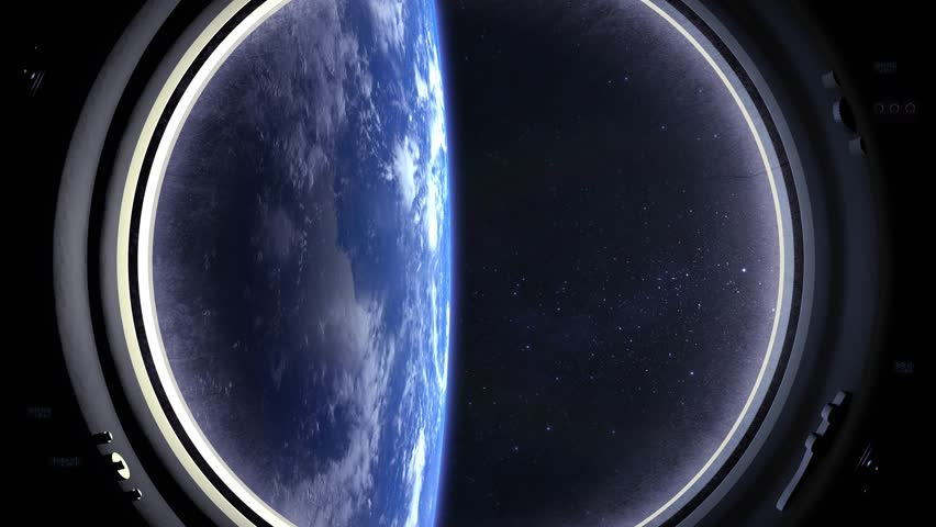 Earth as seen through window of International Space Station. ISS. Flies away. The earth is located vertically. Volumetric clouds. View from space. Stars twinkle. Space. 4K. | Shutterstock HD Video #1009275293