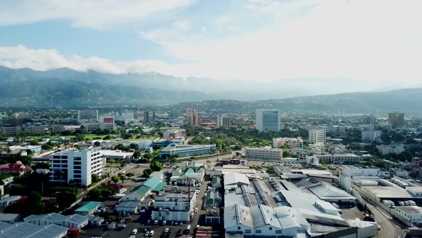 Beautiful Cinematic aerial view of Kingston Jamaica   Shutterstock HD Video #1009286267