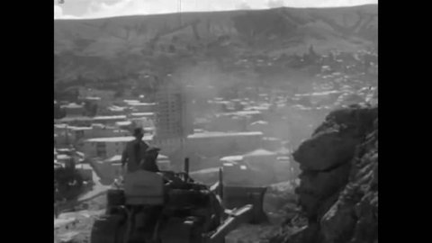 CIRCA 1940s - Modernized housing in La Paz, Bolivia in 1943, gives the silhouette of the city a new makeover, from the outmoded adobe mud homes.
