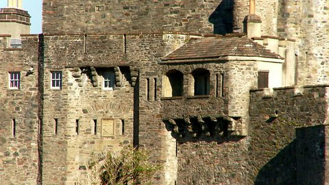Zoom back from Eilean Donan Castle, Kintail National Scenic Area, Dornie, western Highlands,  Scotland