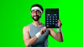 young crazy sportsman holding a calculator