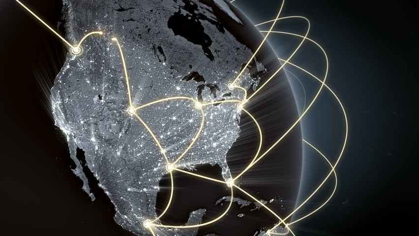 Growing network connections around the world. Global network, internet concept. Connecting people in a digital world. Close-up of Earth. Orange version. Seamless loop.  4K | Shutterstock HD Video #1009321334